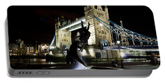 Tower Bridge With Girl And Dolphin Statue Portable Battery Charger