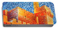 Portable Battery Charger featuring the painting Tower Of David At Night Jerusalem Original Palette Knife Painting by Georgeta Blanaru