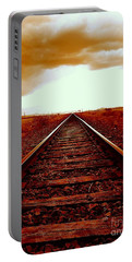 Marfa Texas America Southwest Tracks To California Portable Battery Charger by Michael Hoard