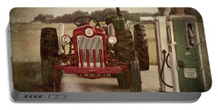 Portable Battery Charger featuring the pyrography Tractor And Gas Pumps by Bonnie Willis