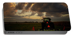 Tractor At Sunrise - Chester Nebraska Portable Battery Charger by Art Whitton