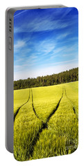 Tractor Tracks In Wheat Field Portable Battery Charger