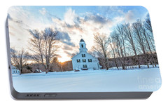 Portable Battery Charger featuring the photograph Traditional New England White Church Etna New Hampshire by Edward Fielding