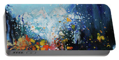 Portable Battery Charger featuring the painting Traffic Seen Through A Rainy Windshield by Dan Haraga