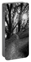 Trail Path With Sunburst Shining Through Trees Portable Battery Charger