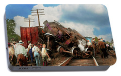 Portable Battery Charger featuring the photograph Train - Accident - Butting Heads 1922 by Mike Savad