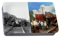 Portable Battery Charger featuring the photograph Train - Accident - Butting Heads 1922 - Side By Side by Mike Savad