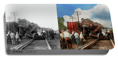 Train - Accident - Butting Heads 1922 - Side By Side Portable Battery Charger by Mike Savad