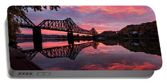Train Bridge At Sunrise  Portable Battery Charger