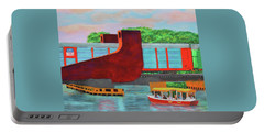 Portable Battery Charger featuring the painting Train Over The New River by Deborah Boyd