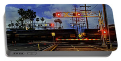 Train Crossing Portable Battery Charger by Timothy Bulone