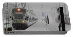 Train In Helsinki Portable Battery Charger by Margaret Brooks
