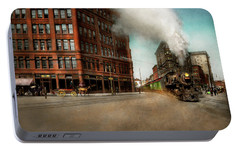 Portable Battery Charger featuring the photograph Train - Respect The Train 1905 by Mike Savad