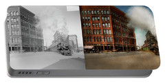 Portable Battery Charger featuring the photograph Train - Respect The Train 1905 - Side By Side by Mike Savad