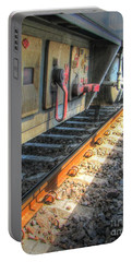 Portable Battery Charger featuring the pyrography Train Road by Yury Bashkin