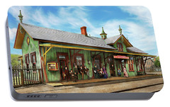 Portable Battery Charger featuring the photograph Train Station - Garrison Train Station 1880 by Mike Savad
