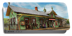 Train Station - Garrison Train Station 1880 Portable Battery Charger by Mike Savad