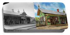 Train Station - Garrison Train Station 1880 - Side By Side Portable Battery Charger by Mike Savad
