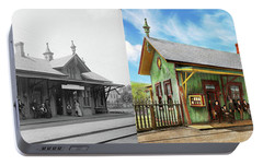 Portable Battery Charger featuring the photograph Train Station - Garrison Train Station 1880 - Side By Side by Mike Savad