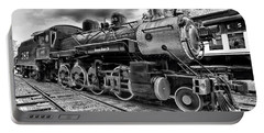 Train - Steam Engine Locomotive 385 In Black And White Portable Battery Charger