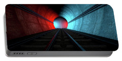 Train Tracks And Tunnel Split Choices Portable Battery Charger