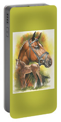Portable Battery Charger featuring the mixed media Trakehner by Barbara Keith