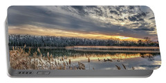 Tranquil Chesapeake Bay Pond During Winter At Sunset Portable Battery Charger