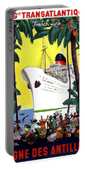 Trans Atlantic French Line, Cruiser, Tourist Ship Poster Portable Battery Charger