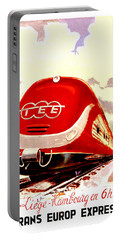 Trans Europ Express Railway,train,vintage Poster Portable Battery Charger