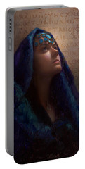 Transformation - Woman With Romans 12 2 Written In Original Greek  Portable Battery Charger