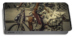 Portable Battery Charger featuring the photograph Transport By Bicycle In China by Heiko Koehrer-Wagner