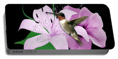 Portable Battery Charger featuring the mixed media Transport Hummingbird by Marvin Blaine