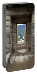 Portable Battery Charger featuring the photograph Trapezoidal Door, Machu Picchu, Peru by Aidan Moran