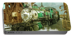 Traveling By Train Portable Battery Charger by Claudia Ellis