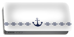 Treasure Knot And Anchor In Blue Portable Battery Charger