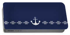Treasure Knot And Anchor In White Portable Battery Charger