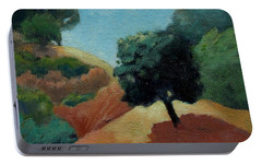 Portable Battery Charger featuring the painting Tree Alone by Gary Coleman