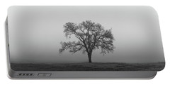 Tree Alone In The Fog Portable Battery Charger