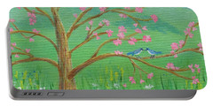 Portable Battery Charger featuring the painting Tree For Two by Nancy Nale