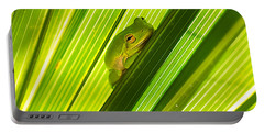 Tree Frog And Palm Frond Portable Battery Charger by Kenneth Albin