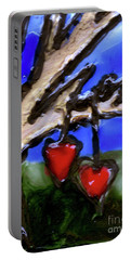 Portable Battery Charger featuring the painting Tree Hearts by Genevieve Esson