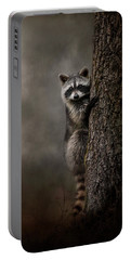 Tree Hugger Raccoon Art Portable Battery Charger by Jai Johnson