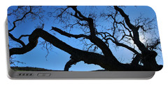 Tree In Rural Hills - Silhouette View Portable Battery Charger