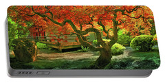Tree, Japanese Garden Portable Battery Charger by Marius Sipa