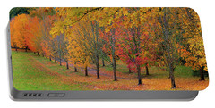 Tree Lined Path With Fall Foliage Portable Battery Charger