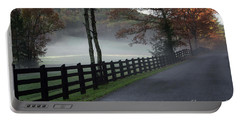 Tree Lined Road In The Fog Portable Battery Charger