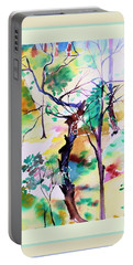 Portable Battery Charger featuring the painting Tree Lovers by Mindy Newman