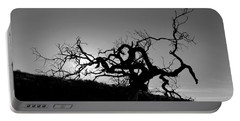 Tree Of Light Silhouette Hillside - Black And White  Portable Battery Charger