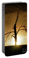 Tree Silhouette At Sundown Portable Battery Charger