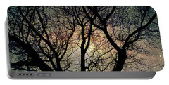 Portable Battery Charger featuring the photograph Tree Silhouette With Stars. by Yulia Kazansky